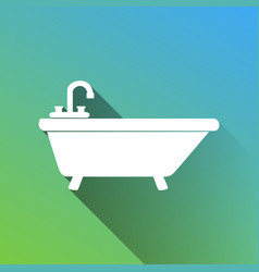 Bathtub sign white icon with gray vector