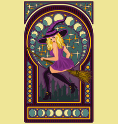 beautiful witch with a moon art nouveau style vector image