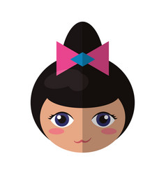 Beauty face kokeshi souvenir decorative vector