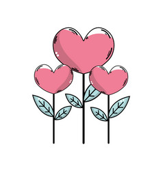 Beauty heart plants with leaves design vector
