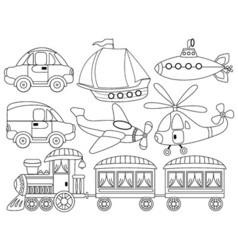 Black and White Transport Set vector image