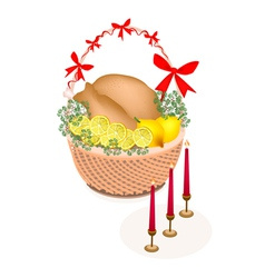 Brown Basket of A Delicious Roast Turkey vector image