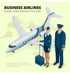 Business airlines planes flying around globe vector