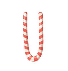 Cartoon christmas candy cane hand drawn font vector