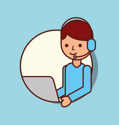 cartoon man operator headset and laptop vector image