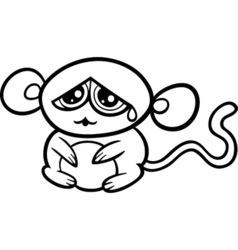 cartoon sad monkey coloring page vector image