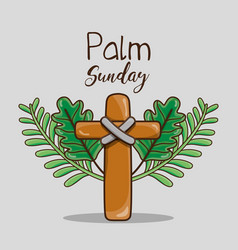Catholic cross and palm branches religion vector
