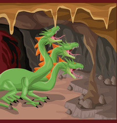 Cave interior background with hydra mythological vector