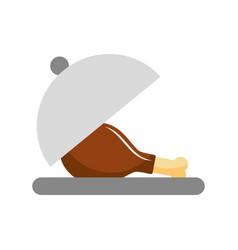 Chicken or turkey thigh on tray food menu vector