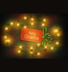Christmas composition on dark wooden background vector