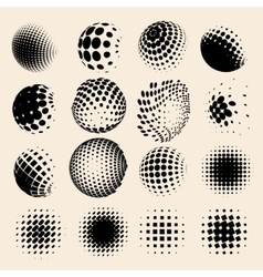 Collection of halftone sphere logo set vector
