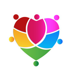 Colorful heart people logo vector