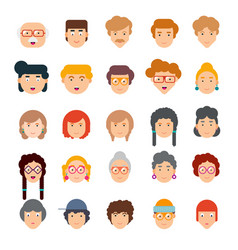 Colorful set of faces in flat design vector