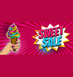 comic text ice cream sweet sale pop art vector image