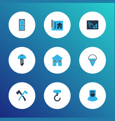 construction icons colored set with drawing with vector image