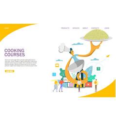 Cooking courses website landing page design vector