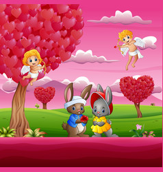 couple a rabbit in the beautiful pink garden vector image