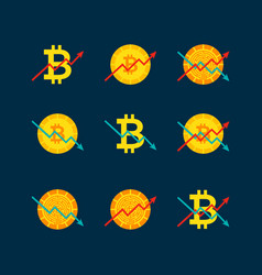 cryptocurrency up down graph vector image