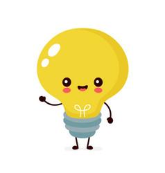 Cute happy smiling light bulb vector