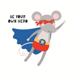 Cute mouse superhero vector