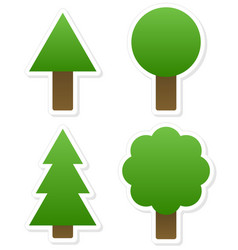 Different tree shapes isolated tree forest nature vector