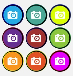 Digital photo camera icon sign Nine multi-colored vector image