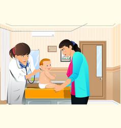 Doctor examining a baby vector