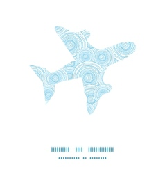 doodle circle water texture airplane silhouette vector image
