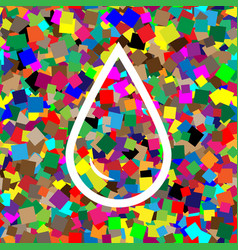 drop of water sign white icon on colorful vector image