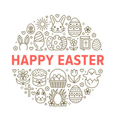 Easter card circle template with flat line icons vector