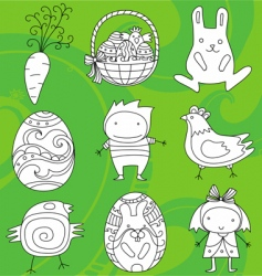 Easter doodles vector image