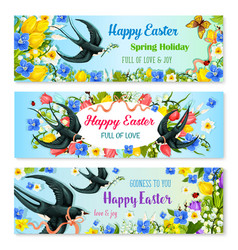 easter holiday banner with spring flower and bird vector image vector image