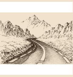 Empty road passing through alpine landscape hand vector