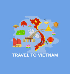 Exotic vietnam country concept banner flat style vector