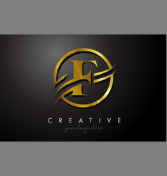 F golden letter logo design with circle swoosh vector