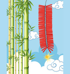 Firecrackers and bamboo tree in sky vector