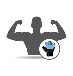 Fitness silhouette glove gym graphic vector
