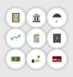 Flat icon gain set of strongbox greenback vector