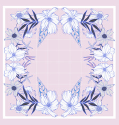 Floral rose geometric rectangle pattern with vector
