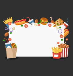 frame with fast food products with free space for vector image