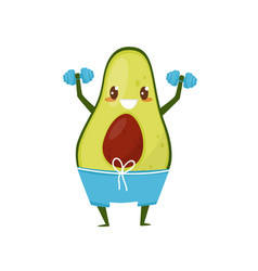 Funny avocado exercising with dumbbells sportive vector