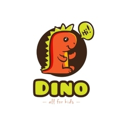 funny cartoon dino logo badinosaur vector image