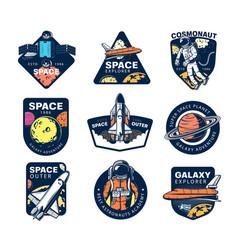 Galaxy explore universe expedition icons vector