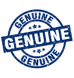 Genuine blue round grunge stamp vector