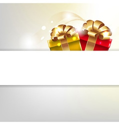 Gift Poster With Box And Gold Ribbons vector image