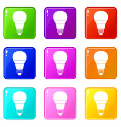 Glowing led bulb icons 9 set vector