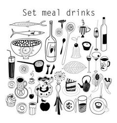 Graphic set of food and drink isolated on white vector image