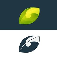 Green leaf and G letter logo vector image