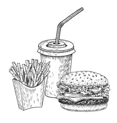 hamburger french fries and cola hand drawn vector image