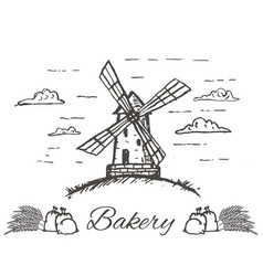 hand drawn bakery logo badge emblem vector image